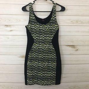 Material Girl   Black/Green Body con dress, M